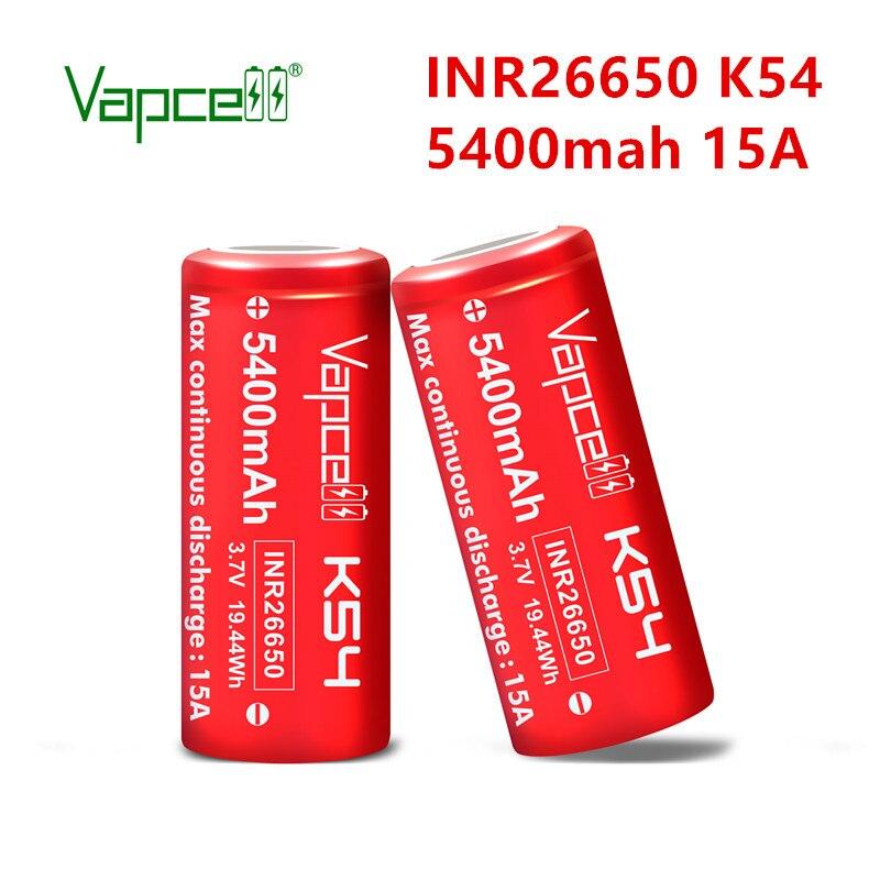 Бесплатная доставка оригинальный VapCell INR 26650 5400mah 15A K54 3,7 V высокомощный литий-ионный аккумулятор для электроинструментов фонарика