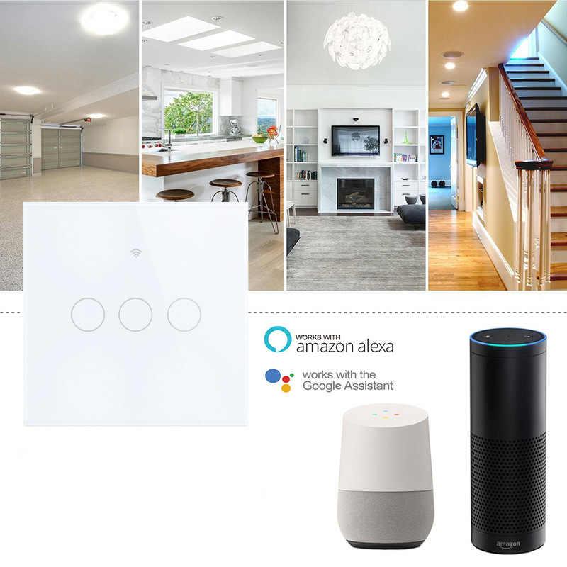 Inteligentny przełącznik WIFI APP zdalne dotykowy sterowanie przełącznik dla Alexa/Google domu/Echo dom dotykowy panelowe oświetlenie ścienne kontroler dla domu