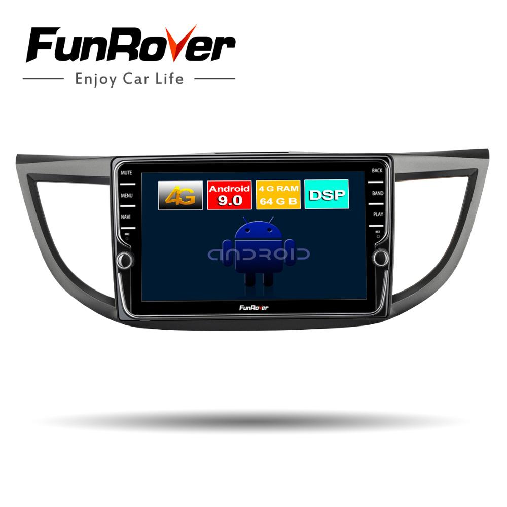 Funrover 8 Cores 4G+64G Android 9.0 Car Radio Multimedia Audio Player Navigation <font><b>GPS</b></font> 2Din For <font><b>Honda</b></font> <font><b>CRV</b></font> 2012 2013 <font><b>2014</b></font> 2015 2016 image