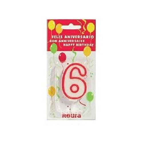 Candle Cumplea & # 209; OS White Red N6 6 cm = 408820 =