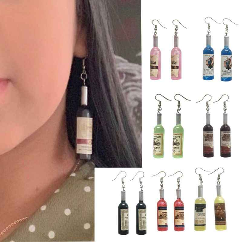 Mini Cute Bir Piala Botol Kaca Resin Drop Anting-Anting Fashion Perhiasan Wanita