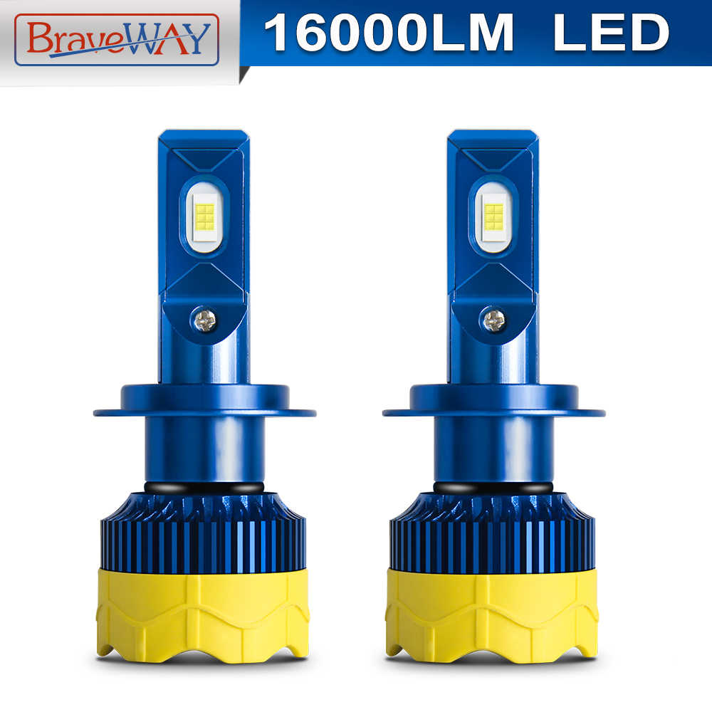 Braveway H4 LED Car Headlight Bulbs CANBUS H7 LED KIT 6000K 12V 80W 16000LM Moto H4 Hi/Lo Beam LED Lamp for Cars Motorcycle