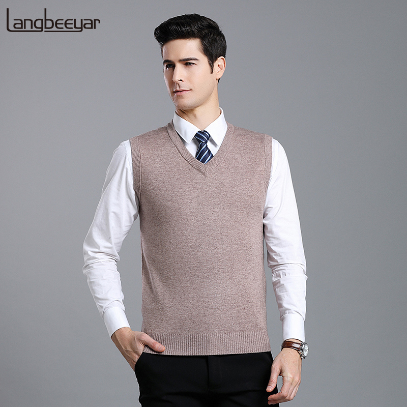 New Fashion Brand Sweater For Mens Pullovers V Neck Slim Fit Jumpers Knit Solid Color Autumn Vest Sleeveless Casual Clothing Men
