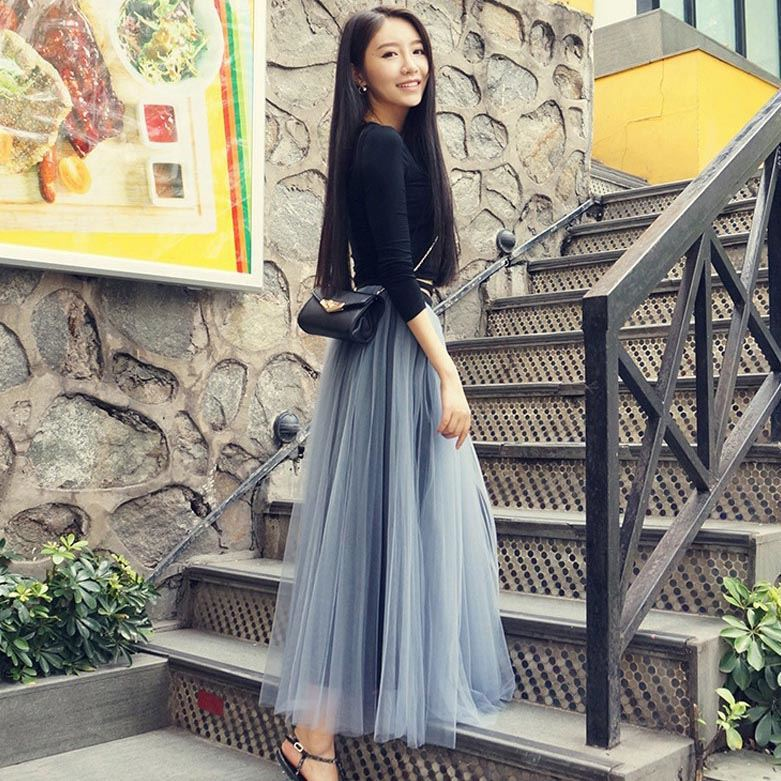 New Style Summer Elastic Waist Skirt Solid Color Tall 2018 Fashion Simple Women's Longuette Women's Summer
