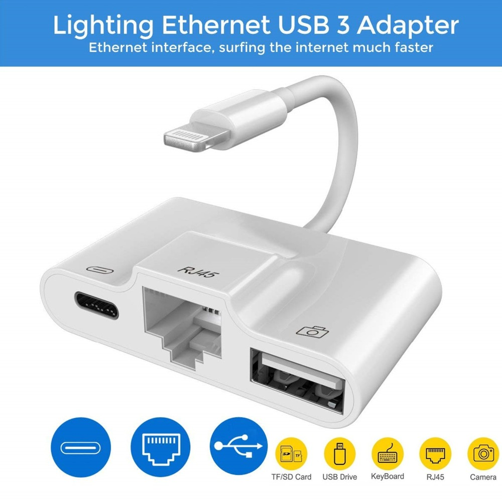 For Lightning To LAN 100Mbps Ethernet RJ45 Adapter OTG USB Camera Reader For IPhone/iPad 3 In 1 Charger Adapter Connector