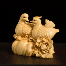 Mandarin Duck 5cm Solid Wood Figurine Boxwood Carved Chinese Style Feng Shui Newly Married Gift Animal