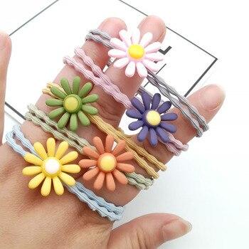5 uds. Banda elástica de goma para el pelo de dibujos animados para bebés y niños con coleta de flores soporte acrílico para niños sombreros de cuerda accesorios para el cabello