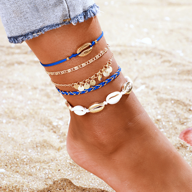 Gold Color Tassel Beads Anklet Bracelet on The Leg for Women Cowrie Shell Ankle Chain Foot Jewelry 2020