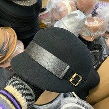 01911-ting039 британский стиль шерсть Аллигатор ремень украшение леди Конный шляпа мужчины женщины досуг остроконечная Кепка