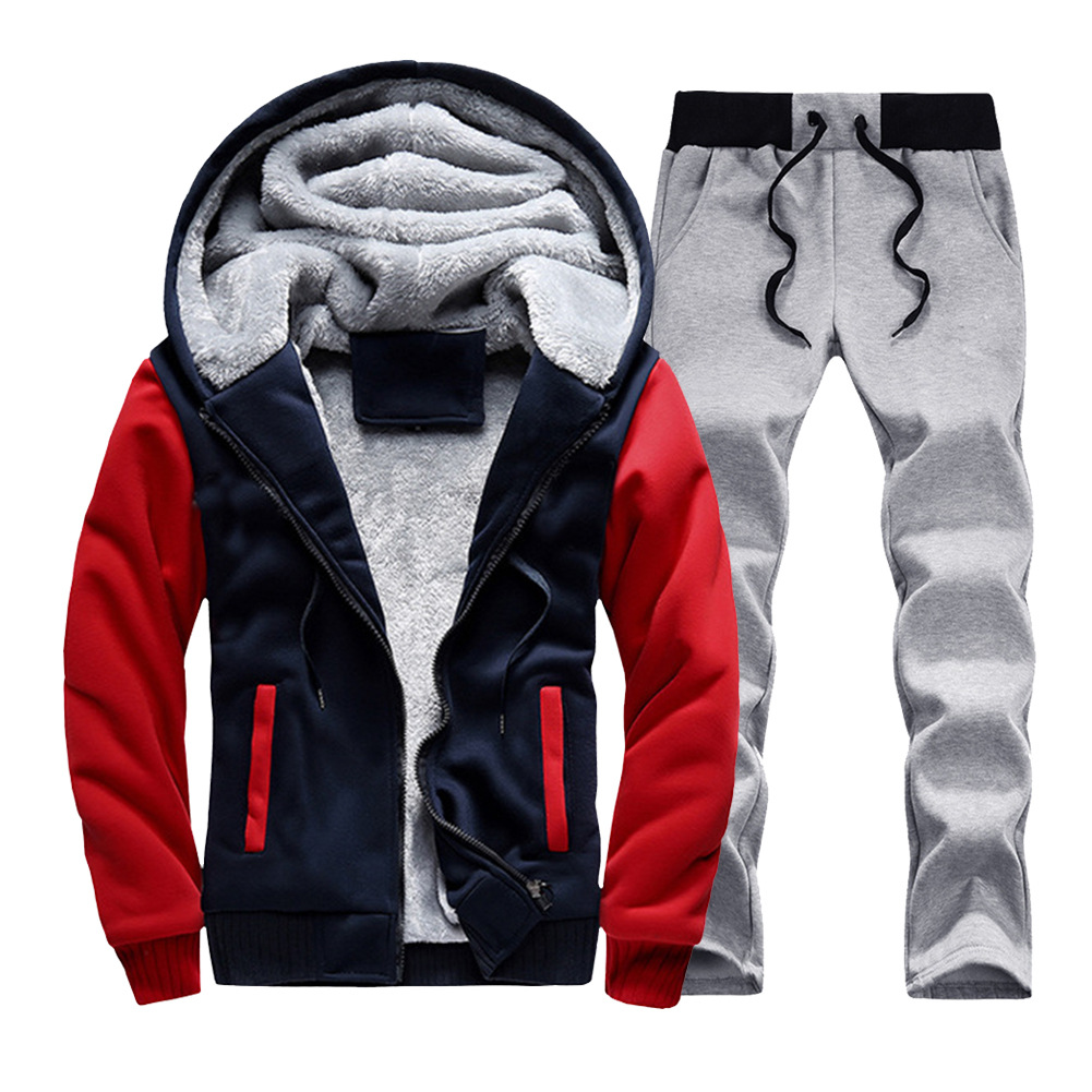 Men's Autumn And Winter Brushed And Thick Cardigan Hoodie Straight-Leg Trousers Two-Piece Set Contrast Color Hoodie Loose-Fit Sp