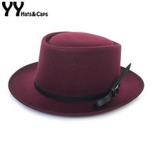 YY Black Bownet пояс Fedora шляпа для мужчин зимняя теплая шляпа новая свиная пирог плоские шляпы Трилби Женская Классическая верхняя шляпка для церкви FD19038