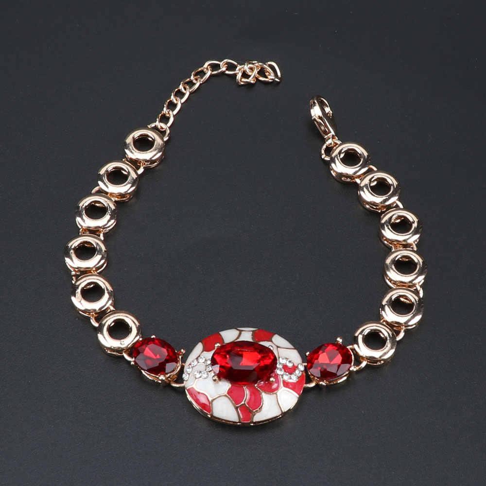 แฟชั่นสี Chain จี้สร้อยคอต่างหูสร้อยข้อมือแหวนชุดผู้หญิงงานแต่งงานชุดเครื่องประดับ