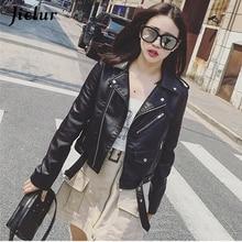 Jielur Autumn Winter Leather Jacket Women Black Zipper Short Coat Slim Korean PU Kpop Clothing Mujer 2019 New S-XL