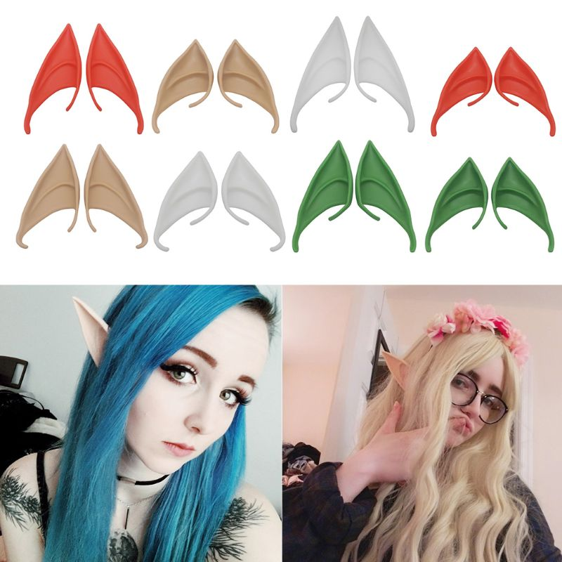 1/3/12 Pair  Latex Elf Ears Pointed Cosplay Mask Accessories Halloween DXAA