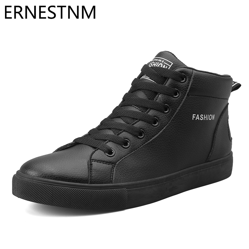 ERNESTNM Sneakers Women 2019 Autumn Winter Plush High Top Shoes White Sneakers High Quality PU Lace Up Increasing Height Shoes