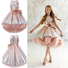 Платья с цветочным узором для девочек; элегантное кружевное платье цвета шампанского с аппликацией без рукавов; Детские пышные платья для свадьбы; платья для первого причастия