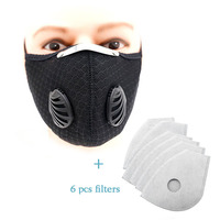 Sports Cycling Face Mask Filters PM2.5 Anti-pollution Activated Carbon Half Face Shield Washable Mask With Filter Valve