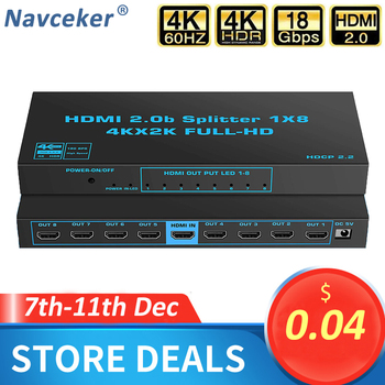 2020 1x8 4K UHD HDMI Splitter 2.0 1x2 HDMI 2.0 Splitter HDCP 2.2 HDR Splitter HDMI 2.0 4K 1x4 HDMI2.0 Splitter For XBox PS4 pro image