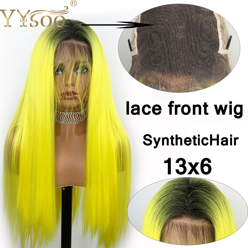 YYsoo Long Silk Straight Bright Yellow Wig Dark Roots Ombre Synthetic Lace Front  Wigs 13x6 Half Hand Tied Wig With Baby Hair