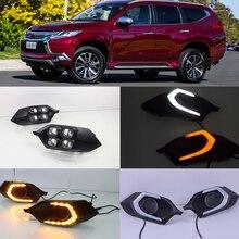 Luces de circulación diurna LED para coche Mitsubishi Pajero Sport, intermitente para coche, 2 uds., 12v, 2016, 2017, 2018, 2019, con lámpara de señal de giro