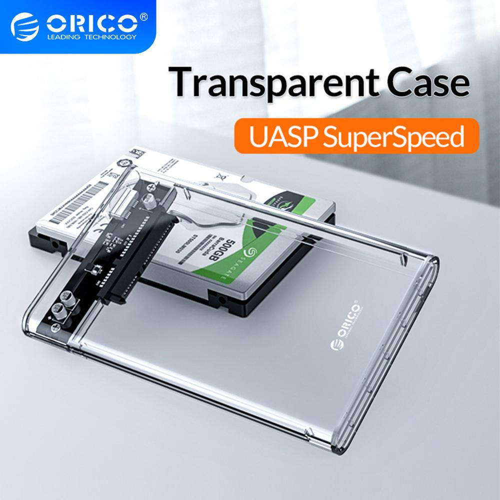 ORICO HDD Case 2.5 inch Transparent SATA to USB 3.0 3.1 Hard Disk Case Tool Free 5Gbps 4TB UASP Type C SSD HDD Enclosure 10Gbps