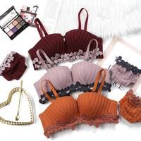 CHEAP lingerie set women sexy bra set lace Underwear push up bra seamless briefs panties red panty lenceria langerie feminina