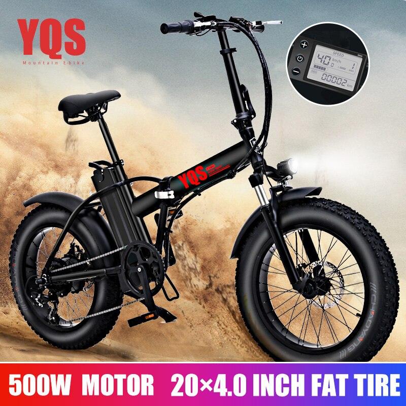 YQS nouveau 500W snowebike montagne vélo électrique 20 pouces 4.0 gros pneu plage vélo électrique