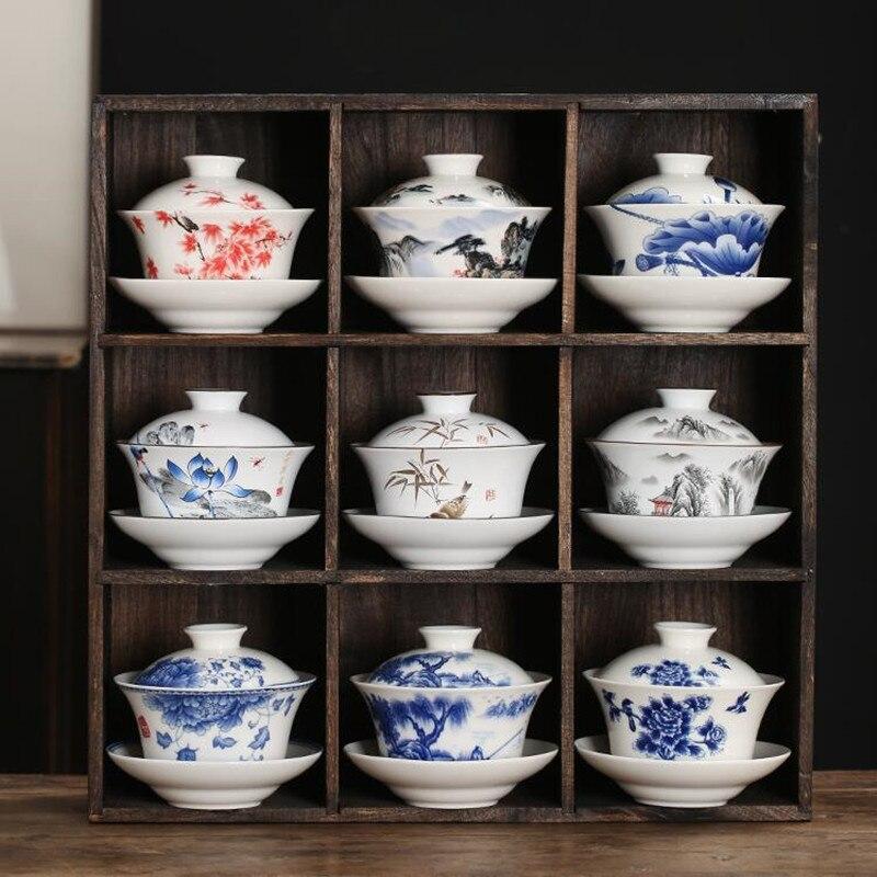 Gaiwan Teacup Extra Large Ceramic Tea Set Kungfu Single Tea Bowl Sancai Cup White Porcelain Blue and White Home Hand-held Pot