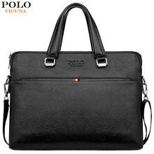 VICUNA POLO diseño Simple ocio hombres de cuero portátil bolso Casual negocios hombre maletín ordenador bolsos de hombro