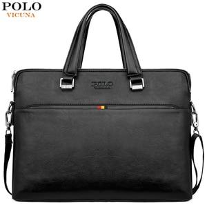 Image 1 - VIKUNJA POLO Einfache Design Freizeit männer Leder Laptop Handtasche Business Casual Mann Aktentasche Computer Schulter Taschen