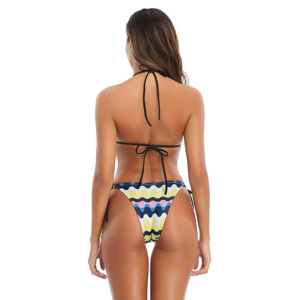WTCandy 2020 nouvelle impression pastèque chaîne Bikini ensemble brésilien plage Biquini femme Sexy Micro maillot de bain femmes maillot de bain bandeau