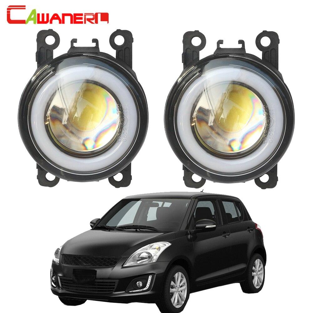 Cawanerl For Suzuki Swift MZ EZ Hatchback 2005 2015 Car LED Fog Light COB Angel Eye DRL Daytime Running Lamp H11 3000LM 12V
