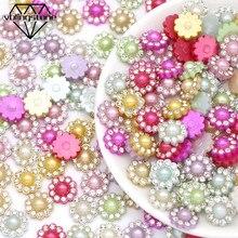 50 pçs resina flor decoração artesanato flatback strass abs pérola enfeites cabochão scrapbooking para hairwear/roupas