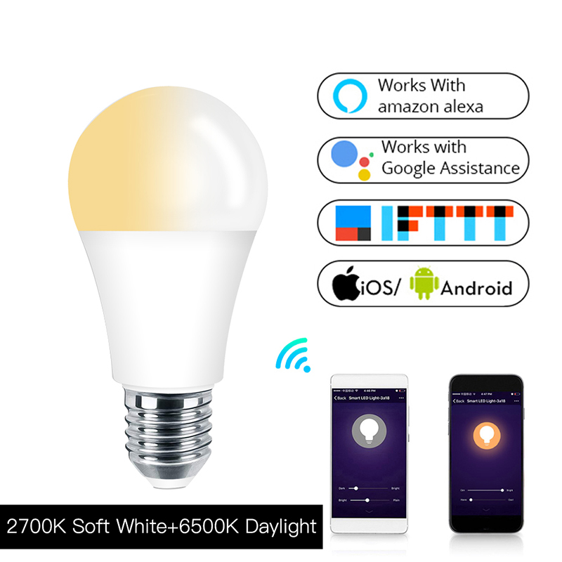 E27 Wifi Smart LED Bulb 7W Soft White Daylight LED Lamp APP Control Works With Alexa Echo Google Home IFTTT Life/Tuya