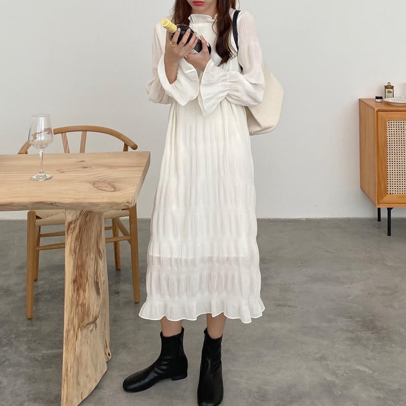Hd4f15df280a947bcb184ded091b5eb17C - Autumn Korean O-Neck Flare Long Sleeves Chiffon Pleated Midi Dress