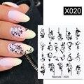 36 стилей наклеек для ногтей черный цветок/кружево/буква Гель-лак слайдер аксессуары переводки для дизайна ногтей