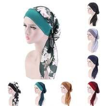 Chapeau à imprimés fleuris pour femmes, écharpe enveloppant la tête, turban, bandana, convient après une chimiothérapie, ou hijab musulman
