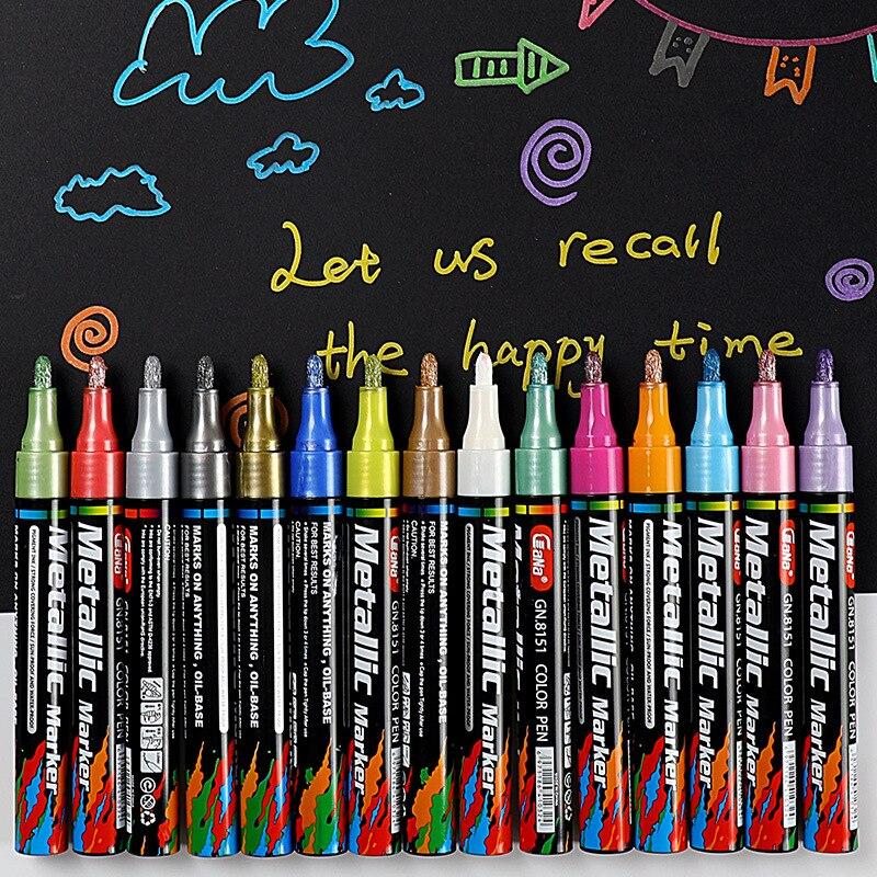 20 Colors High Light Marker Pens Decoration Sketch Markers Pen Fluorescent Metal Flash Manga Animation Design Art Supplies