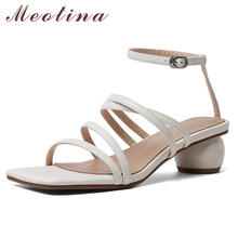 Meotina Shoes Women Narrow Band Real Leather High Heel Sandals Ankle Strap Round Heel Shoes Buckle Square Toe Sandals Ladies New colorful crystal women shoes ankle peep toe high heel buckle newest real photo sandals metal buckle platform shoes bling hotsale