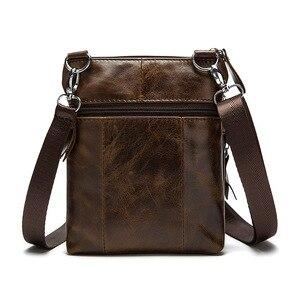 Image 4 - Genuine Leather shoulder bags men Crossbody Bag Designer Natural cowhide Shoulder Bags Vintage Small Flap Pocket Handbag