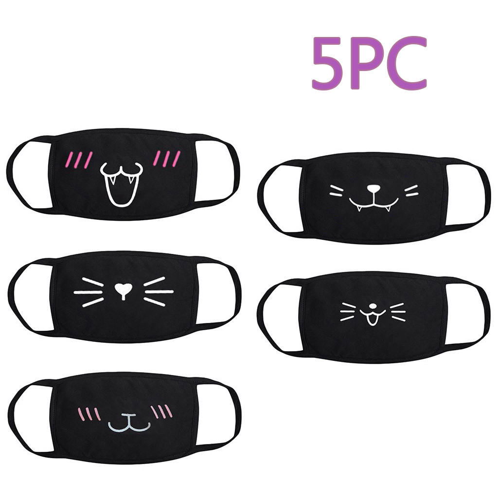 5 Pcs Dustproof Mouth Mask Cotton Face Mask Cartoon Cute Print Thick Breathable Reusable Anti Pollution Mouth Mask Party Mask