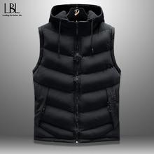 Mens Vest Sleeveless Jacket Outwear Waistcoat Hooded Warm Autumn Male Plus-Size Casual