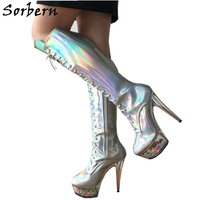 Sorbern Knee High Length Boots For Women Sliver Holographic Rainbow Boots DIY Star Lace Up Clear Heels Decoration
