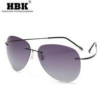 Gafas de sol polarizadas sin montura de titanio para hombre y mujer, lentes ultralivianas para conducir, diseño de marca piloto, sin tornillo, UV400