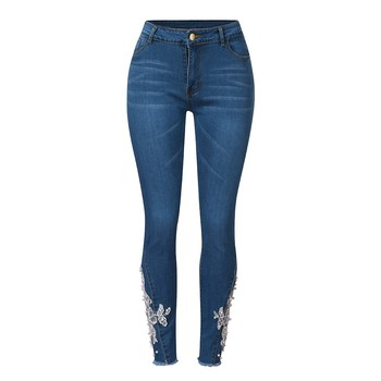 2021 New Fashional Casual Ladylike Women's Embroidery Pearl Applique Pockets High-Waisted Slim Skinny Pencil Jeans Long Trousers 1