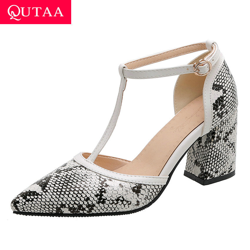 QUTAA 2020 New Summer T-strap Buckle Women Shoes Snakeskin PU Leather Women Pumps Square High Heel Ladies Sandals Big Size 34-43