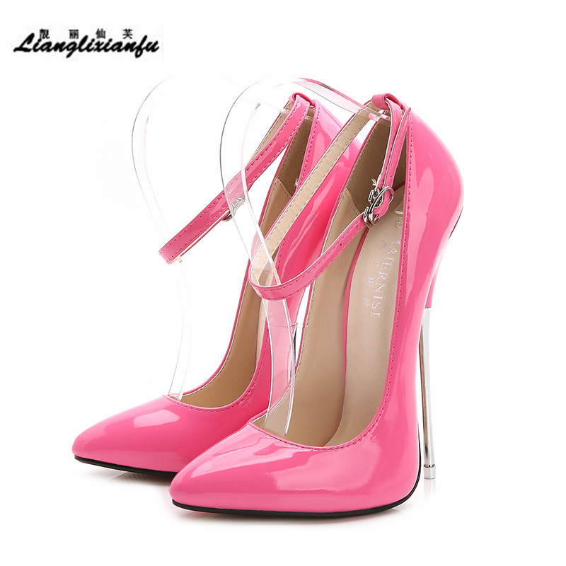 LLXF Crossdresser Shoes Zapatos Mujer 16cm Thin Heels Pink Women Wedding Pumps Bridal Ankle Strap Patent Leather Stiletto Sapato