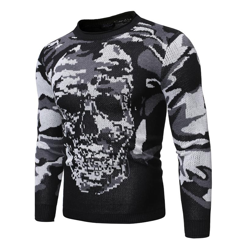 Round Neck Pullover Men Jumper Loose Men's Sweater Camouflage Skull Knit Sweater For Male Gray Black Autumn