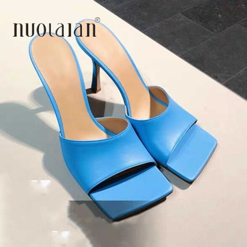 2020 New Summer Women Pumps Shoes Fashion Heel Mules Slippers Elegant Square Toe High Heels Slippers Ladies Party Dress Shoes