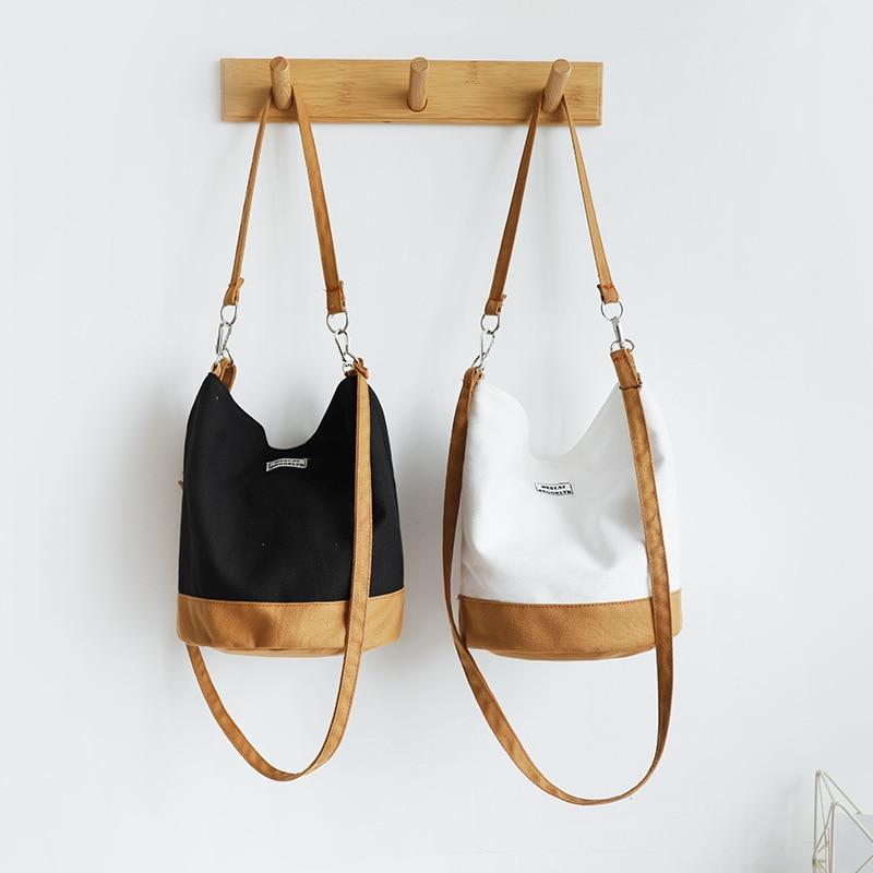Women Canvas Shoulder Bags Female Cotton Cloth Handbag Print Bucket Crossbody Bags Ladies Travel Bags College Students Books Bag